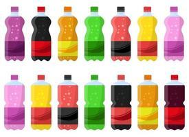 ilustração vetorial de garrafa de refrigerante conjunto isolado no fundo branco vetor