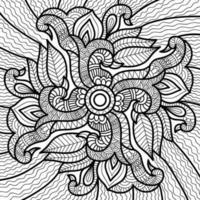 Doodle henna design página de livro para colorir para adultos e crianças. decorativo redondo branco e preto. padrões orientais de terapia anti-estresse. emaranhado zen abstrato. ilustração em vetor ioga meditação.