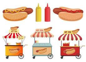 loja de rua de cachorro-quente, ketchup e ilustração vetorial de mostarda conjunto isolado no fundo branco vetor