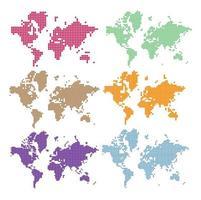 conjunto de mapa-múndi vetor pontilhado