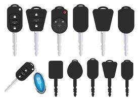 conjunto de ilustração vetorial chave carro isolado no fundo branco vetor