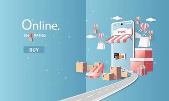 arte em papel, compras on-line no smartphone e novo comprar promoção de venda céu azul backgroud para comércio eletrônico de mercado de banner. vetor
