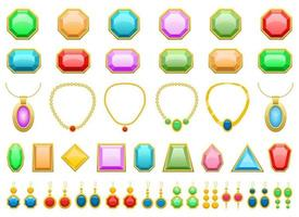 ilustração de desenho vetorial de pedras preciosas, brincos e joias isolada no fundo branco vetor