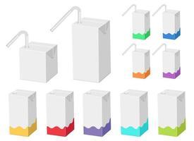 ilustração do projeto do vetor da embalagem da caixa de suco de palha isolada no fundo branco