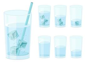 copo de água com cubos de gelo ilustração vetorial design isolado no fundo branco vetor