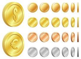conjunto de ilustração vetorial de moeda brilhante isolado no fundo branco vetor