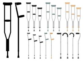 Conjunto de muletas médicas conjunto de ilustração de design isolado no fundo branco vetor