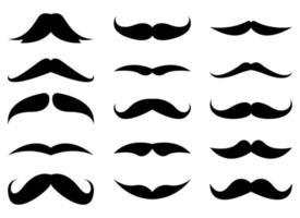Conjunto de ilustração vetorial coleção bigode isolado no fundo branco vetor