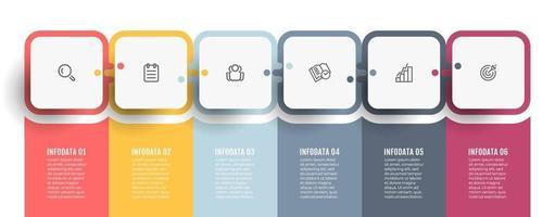 modelo gráfico de informações de negócios. gráfico de processo. linha do tempo com ícones e 6 opções ou etapas. pode ser usado para diagrama de processo, apresentações, banner, relatório anual, web design. vetor