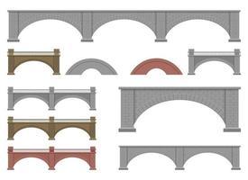 ilustração em vetor ponte de pedra isolada no fundo branco