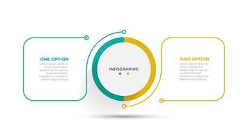 modelo de design de elemento plano de linha fina. conceito de negócio com 2 etapas, opções, processos. ilustração vetorial. vetor
