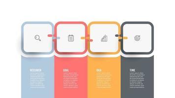 modelo gráfico de informações de negócios. gráfico de processo. linha do tempo com ícones e 4 opções ou etapas. vetor