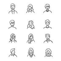 conjunto de doodle de funcionários de escritório de avatar, pessoas alegres, estilo de ícone desenhado à mão, design de personagens, ilustração vetorial.