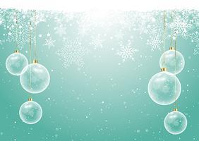 Baubles de Natal no fundo do floco de neve