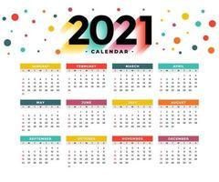 calendário colorido de ano novo 2021 desenho vetorial eps redimensionável 10 vetor