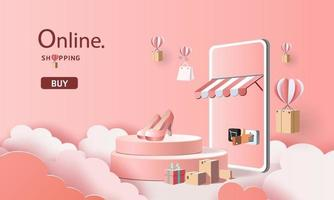 arte em papel, compras on-line no smartphone e novo comprar backgroud de promoção de venda para comércio eletrônico de mercado de banner. vetor
