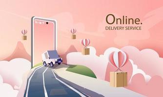 papel arte courier van cartoon no serviço de entrega da cidade e compras online de arte e ilustração vetorial. vetor