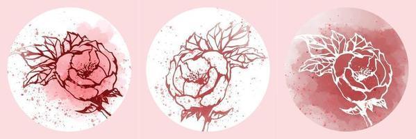 coleção, vetor de linha de arte desenhada de mão preto e branco. vetor de rosa com vetor de folha em fundo branco, vermelho e rosa. ilustração natureza abstrata. papel de parede panorâmico.