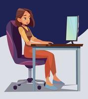 trabalho online. trabalho remoto. ilustração de negócios vetor