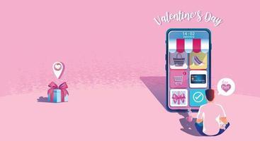 conceito de compras on-line do dia dos namorados, aplicativo de site ou celular, marketing e marketing digital. promoção smartphone, entrega rápida. ilustração em vetor design plano compras 24 horas
