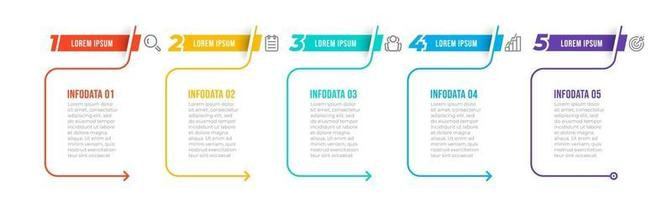 modelo de design de infográfico de linha fina com ícones e opções de número. conceito de negócio com 5 etapas ou processos. pode ser usado para apresentações, layout de fluxo de trabalho, diagrama, fluxograma.