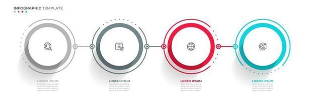 Processo de linha fina gráfico de informações de negócios com design de modelo de círculo com ícones e 4 opções ou etapas. pode ser usado para faixas de apresentações, layout de fluxo de trabalho, relatório anual, fluxograma, web design. vetor