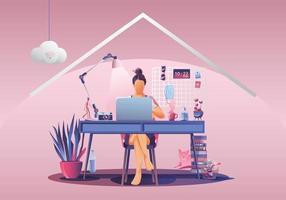 trabalhar a partir do conceito de casa, freelancers de jovem trabalhando em laptops em casa. pessoas em casa em quarentena. vista traseira do fundo rosa, ficar em casa ilustração vetorial. personagem de design plano vetor