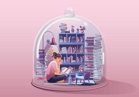 mulher jovem. trabalhando no laptop, lendo um livro. ficar em casa rodeado de livros e plantas. casa em miniatura. fique em casa e fique seguro com o distanciamento social. ilustração em vetor conceito quarentena