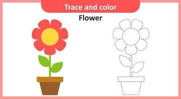 traço e flor de cor vetor