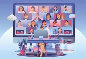 aterrissagem de videoconferência. pessoas na tela do computador com colegas. videoconferência e reunião on-line espaço de trabalho vetor página homem e mulher. auto-quarentena para prevenir o cobiçado vetor -19
