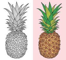 doodle abacaxi desenho página de livro para colorir para adultos e crianças. relaxantes padrões orientais de terapia anti-estresse. emaranhado zen abstrato. ilustração vetorial.