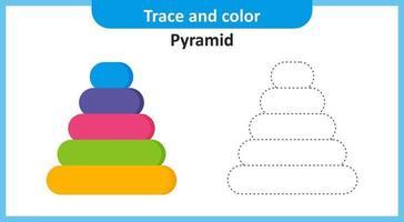 traço e pirâmide de cores vetor