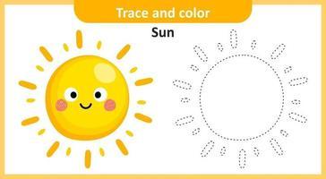 traço e cor do sol vetor
