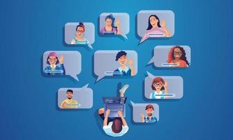 empresário usar videoconferência pousando pessoas que trabalham na tela da janela levando com colegas. videoconferência e reunião online, ilustração vetorial de aprendizagem online de homem e mulher, design plano vetor