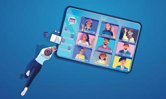 empresária usa vídeo-conferência pousando pessoas trabalhando na tela da janela levando com colegas. videoconferência e reunião online, ilustração vetorial de aprendizagem online de homem e mulher, design plano vetor