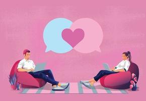 jovem casal enviando mensagens de amor no dia dos namorados em forma de coração, este tom rosa romântico e fofo parece bom para dizer amor, usar smartphone ou ilustração de design plano de tela de dispositivo em vetor. vetor