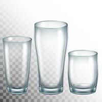 Ilustração realística do vetor 3D de copos de vidro para água ou bebidas.