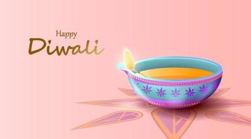 feliz festival de diwali com lâmpada a óleo, cartão comemorativo de diwali, vetor