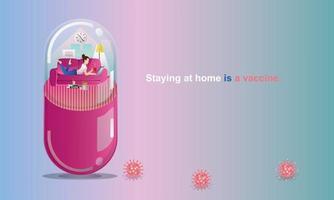 distanciamento social e conceito de ficar em casa. quarentena, pessoas mantendo distância para risco de infecção e doença. mulher trabalhando, como em uma cápsula. diversão em casa ficar. auto-isolamento de coronavírus. vetor