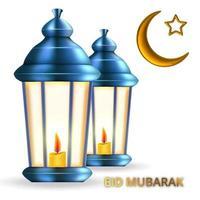 lanterna realista com vela para o feriado islâmico eid mubarak vetor