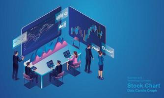 programador isométrico trabalhando em um escritório de empresa de desenvolvimento de software ou empresário negociando ações. o corretor de ações está olhando para gráficos, índices e números em várias telas de computador virtuais vetor
