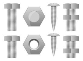 parafuso hex parafuso conjunto ilustração vetorial design conjunto isolado no fundo branco vetor