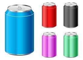 lata de refrigerante definir ilustração de desenho vetorial isolada no fundo branco vetor