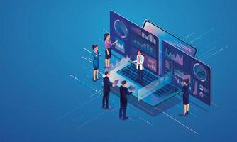 conceito de análise de dados para site e site móvel. análise de dados para soluções de marketing da empresa ou desempenho financeiro. conceito de contabilidade ou estatística de orçamento. ilustração de design plano vetor