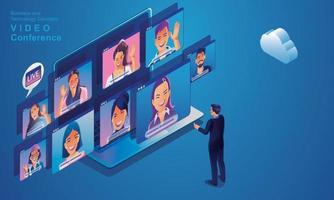 empresários usam videoconferência pousando trabalhando pessoas de vista superior na tela da janela com colegas. videoconferência de trabalho remoto e espaço de trabalho de reunião on-line página homem mulher aprendizagem vetor