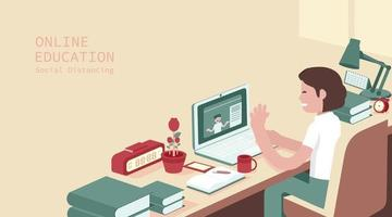 estudo do aluno no computador, exame online, questionário na internet, ilustração vetorial vetor