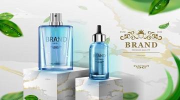 frasco cosmético de luxo, creme para cuidados com a pele, pôster de cosméticos de beleza, produto azul e fundo de mármore, ilustração vetorial vetor