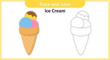traçar e colorir sorvete vetor