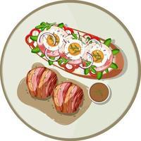 vista superior do prato do café da manhã isolado vetor