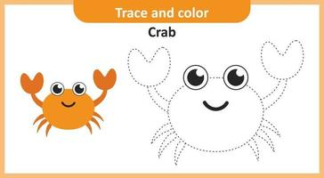 traço e cor de caranguejo vetor